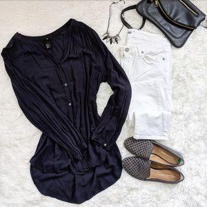 H&M Blue Button Down Blouse Size 12